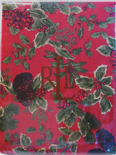 Ralph Lauren Birchmont Red 90in Round Tablecloth Christmas Holiday Holly Berry