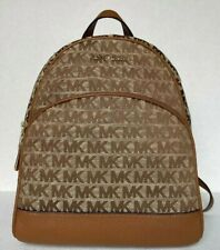 Michael Kors Abbey Medium Backpack Duffle Bag Leather Signature Beige