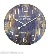 "Provence Wall Clock Blue 23"" Round Gallery French Country Distressed Wood Paris"
