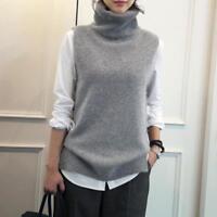 Women Turtleneck Sleeveless Cashmere Knitted Sweater Jumper Vest Winter Knitwear