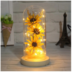 LED Glass Dome Light Mini Artificial Sunflower Lamp with Glass Cover Ornament