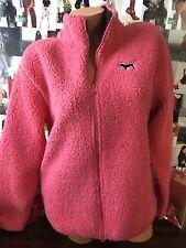 Victoria's Secret Pink Sherpa Boyfriend Full Zip Pullover Cosmic Coral M NWT