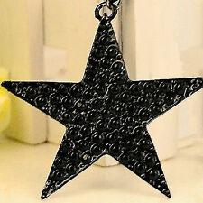 New Strass Schönheit lange Halsketten-Schwarz-Big Pentagram-Stern-Anhänger /