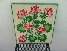 """Vintage Framed Hand Made Needlepoint Floral Picture 14.5"""" x 15"""""""
