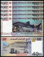 Djibouti 40 Francs 2017, UNC, 5 Pcs LOT, 40'th Anniversary, Comm, SHARK, P-46