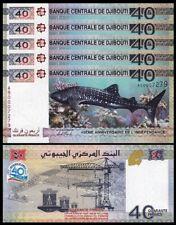 Djibouti 40 Francs 2017 , UNC , 5 PCS LOT, CONSECUTIVE, 40'th Aniv. Comm., P-New