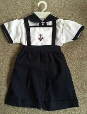 Vintage Baby Sailor Suit/Dungarees/Navy & White Stripes/New Old Stock/Nautical