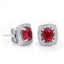 Natural Neon Tanzanian Spinel 1.45 carats set in 18K White Gold Earrings