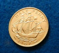 1967 Great Britain 1/2 Penny - Gorgeous Coin - See PICS