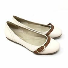 Women's GH Bass & Co Ballet Flats Shoes Size 7.5M Ivory Brown Leather Buckle Y8