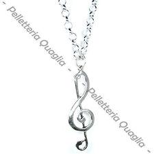 Collana Chiave Di Violino Sol Musica Lunga Regolabile Ciondolo Argento Tibetano