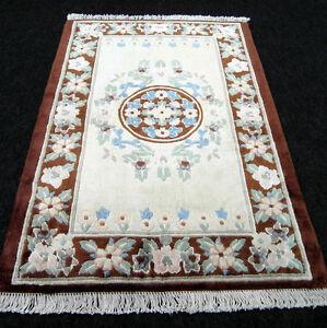 Seidenteppich China 88 x 63 cm Braun Beige Orient Teppich Seide Carpet Rug Tapis