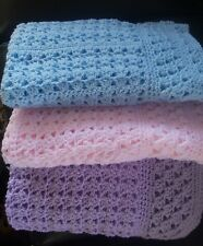 BEAUTIFUL HAND CROCHET BABY BLANKET 28x28YOU PICK COLOR, HELP A CANCER SURVIVOR!