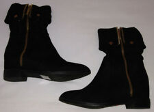 DbDk Estrella-1 Suede Pointy Toe Calf High Snap Cuff Wedge Boot-Size 5.5-New