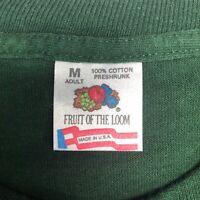 Vintage Mens M 90s Fruit of the Loom Solid Green Crewneck Undershirt T-Shirt
