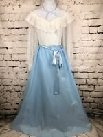 Vintage Prairie Dress 1970's Boho Long Sleeves Lace White and Baby Blue sz 11/12
