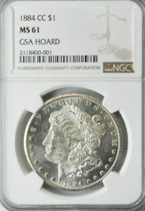 1884 CC $1 Morgan Silver One Dollar GSA NGC MS61 GSA Hoard Uncirculated