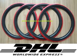 "4X12"" Black&Red Whitewall Portawall tyre insert trim Austin mini Free P&P."