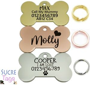 DOUBLE SIDE ENGRAVED THICK BONE ID NAME DISC PERSONALISED PET DOG CAT TAG