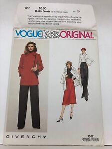Vogue PARIS Original GIVENCHY Size 10 Pattern 1517 uncut Vintage. Smart Style