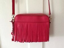 Fossil Handbag/Purse Sydney Fringe Pomegranate/Pink NWT Plus Dust bag