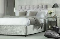 Crushed Velvet Divan Bed Base Wrap Valance in Silver Grey 38cm Deep Belledorm