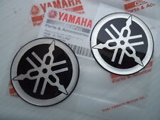YAMAHA GENUINE 50MM TUNING FORK LOGO BLACK SILVER DECAL EMBLEM STICKER X 2