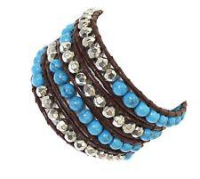 Men Double Leather Cord Bracelet 4mm Glass Metal Bead 3 Wrap Around Wristband