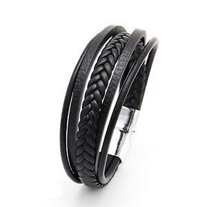 Mens Leather Bracelets Multi Strand  Wristband Clasp, Mens Braided Bracelet