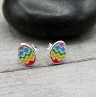 Tiny Easter Egg Post Earrings - 925 Sterling Silver - Easter Stud Earrings NEW