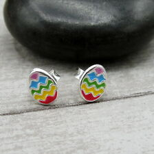 Tiny Easter Egg Post Earrings - 925 Sterling Silver - Easter Stud Earrings NEW