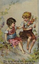 1870's-80's James Pyle's Pearline Washing Powder Adorable Girls Barefeet P45