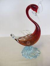 """MURANO ITALIAN ART GLASS CRANE/BIRD METALLIC RED/ORANGE 11+"""" WITH LABEL"""