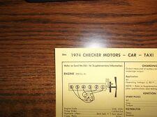1974 Checker Motors SIX Series Car & Taxi Models 250 CI L6 1BBL Tune Up Chart