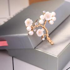 Broche Pin Doré Branche Arbre Fleur Nacre Perle Blanc Simple Retro XZ7
