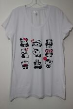 Plus size V neck cotton spandex panda  printed tee