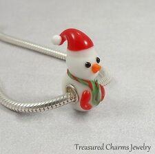 Snowman Christmas Lampwork Glass Large Hole Bead Charm fits European Bracelets