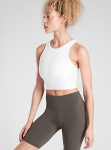 ATHLETA Conscious Crop D-DD Tank Top S SMALL White, Bra-Support Yoga Workout NWT
