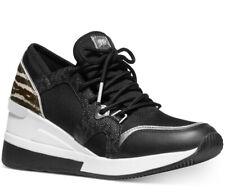 NIB Size 10 Michael Kors Liv Trainer Sneaker Black Gunmetal Calf-hair Wedge $155
