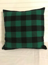 Green and Black Buffalo Plaid Christmas 18 x 18 Flannel Pillow Cover