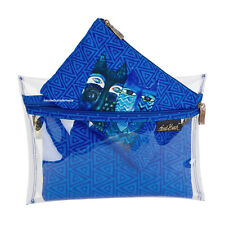 Laurel Burch Cat Blue Cats 3in1 Organizer Makeup Bags Clear & Canvas New 2018