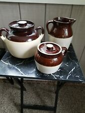 Antique Brownware Pottery Set of 3 Jugs/Pitcher