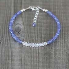 "Genuine Tanzanite+Rainbow Moonstone 3-4mm Rondelle Faceted Beaded Bracelet 7"""
