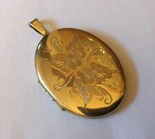 Vintage Hallmarked 9ct 9k Gold Large Locket Pendant Engraved Floral Design