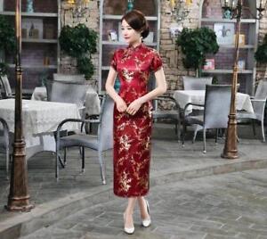 UK Stock Cherry Blossom Chinese Long Evening Party Vintage Dress Cheongsam
