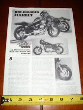 1977 HARLEY DAVIDSON XLCR CAFE RACER + TRIBUTE - ORIGINAL 1987 ARTICLE