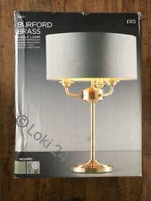 Next Burford Brass Table Lamp w Grey Fabric Shade, Soft Gold Finish BNIB
