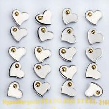 WOMENS HYPOALLERGENIC STAINLESS STEEL SILVER GOLD HEART EARRINGS STUDS 1 PAIR