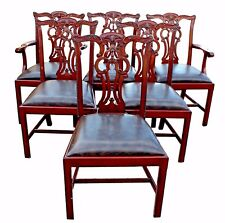 Maitland-Smith Mahogany Chippendale Style Chairs With Leather Seats - Set of 6