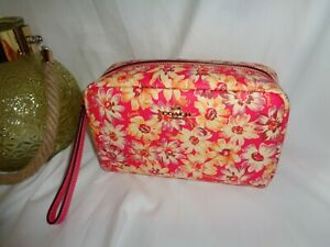 Coach 2639 Vintage Daisy Boxy 20 Cosmetic Case Makeup Travel Bag Pink Multi